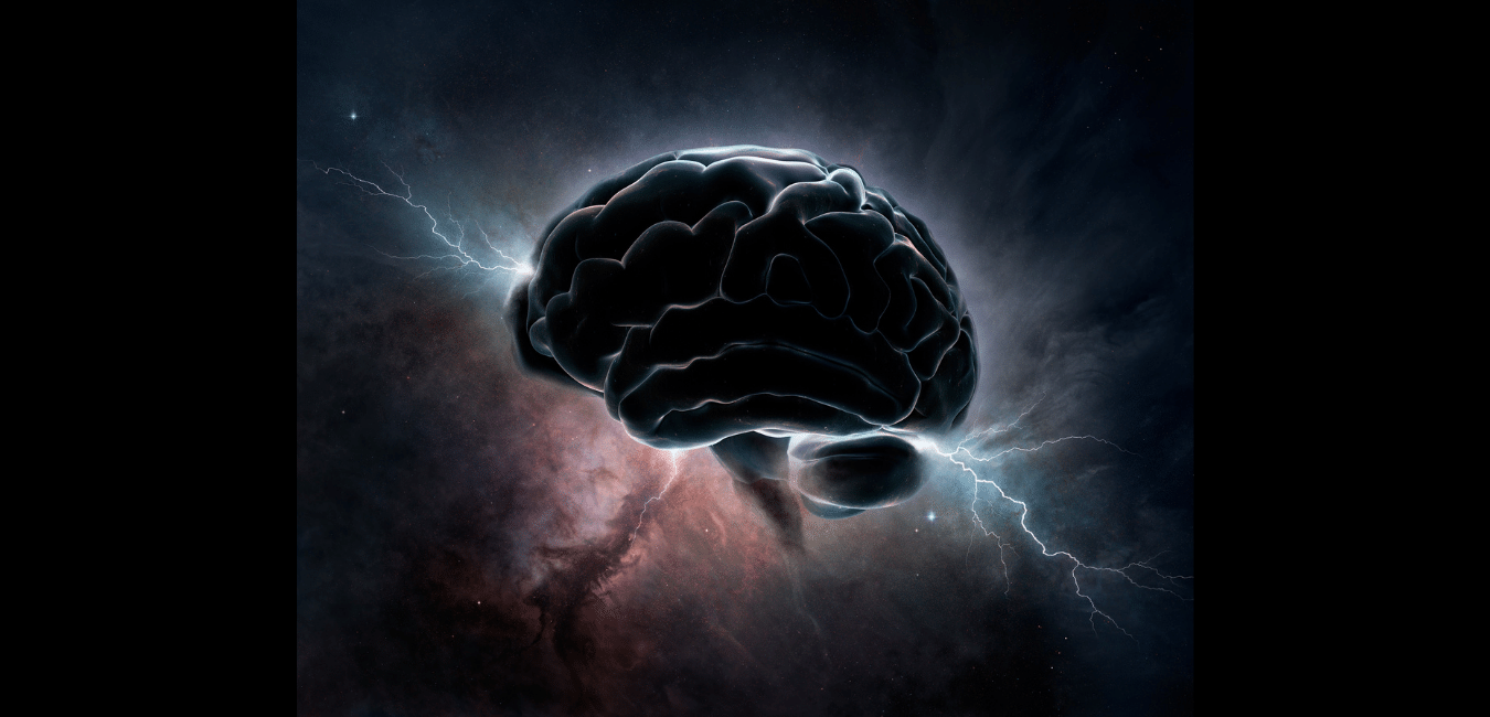 brain with lightening strike